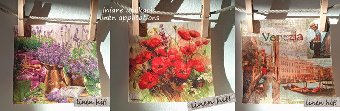 lniane aplikacje decoupage na lnie linen applications Linen Hit